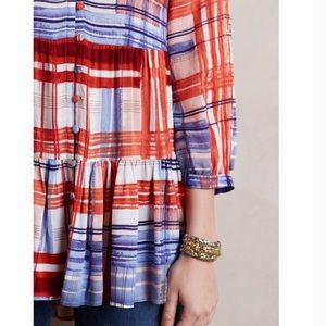 Anthro Maeve Lila Tiered Plaid Tunic Shirt Top S